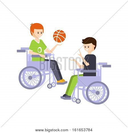 Physically Handicapped Person Living Full Happy Life With Disability Illustration With Smiling Guys In Wheelchairs Playing Basketball. Disabled Cartoon Character With Physical Impairment Vector Drawing.