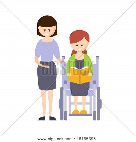 Physically Handicapped Person Living Full Happy Life With Disability Illustration With Smiling Girl In Wheelchair Reading Book. Disabled Cartoon Character With Physical Impairment Vector Drawing.