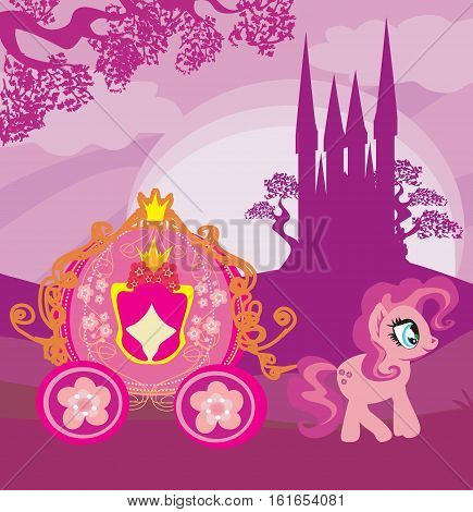 Carriage at sunset. Illustration horse carriage and a medieval castle , vectro illustration