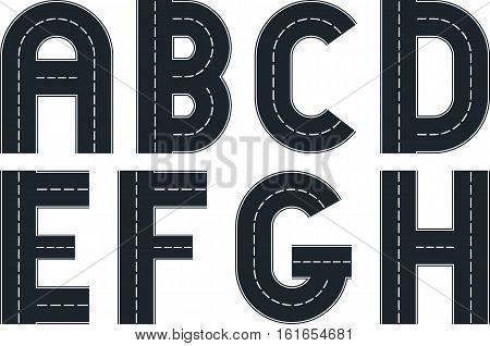 font in shape of road - clip art illustration