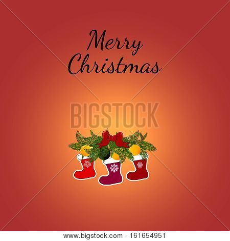 Christmas Greeting Card with socks. Vector illustration. christmas socks with fire branches and red bows.