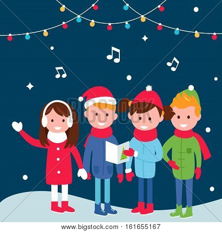 Children Wearing Warm Winter Coats Sing Carols on Christmas Eve. Vector Illustration