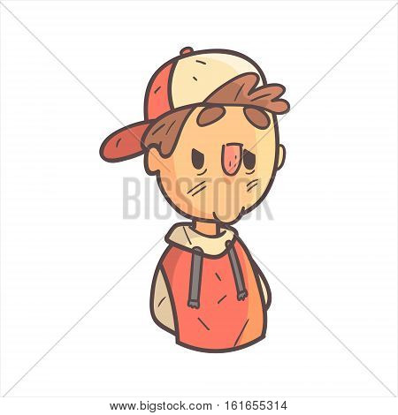 Bored Boy In Cap And College Jacket Hand Drawn Emoji Cool Outlined Portrait. Part Of Funky Flat Vector Sticker Series With Teenager Different Emotional Facial Expressions In Comics Style.