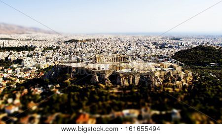 acropolis of athens greece from above tilt shift