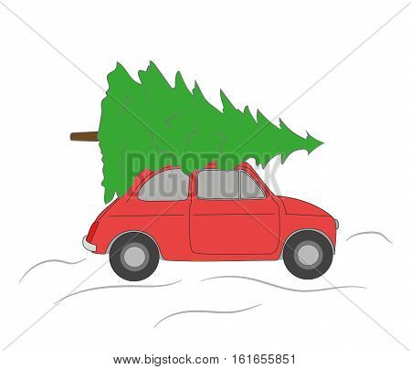 car driven by the Christmas tree. Christmas composition.