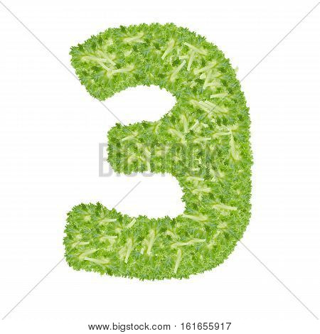 Number 3 made from hydroponics leaf vegetable isolated on white background