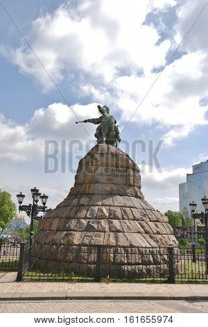 The monument to Bohdan Khmelnytsky on St. Sophia square in Kyiv. Ukraine.