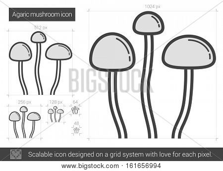 Agaric mushroom vector line icon isolated on white background. Agaric mushroom line icon for infographic, website or app. Scalable icon designed on a grid system.