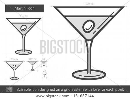 Martini vector line icon isolated on white background. Martini line icon for infographic, website or app. Scalable icon designed on a grid system.