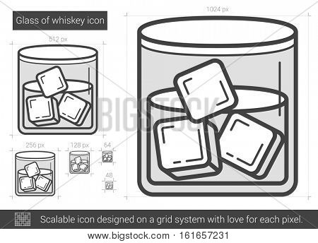 Glass of whiskey vector line icon isolated on white background. Glass of whiskey line icon for infographic, website or app. Scalable icon designed on a grid system.