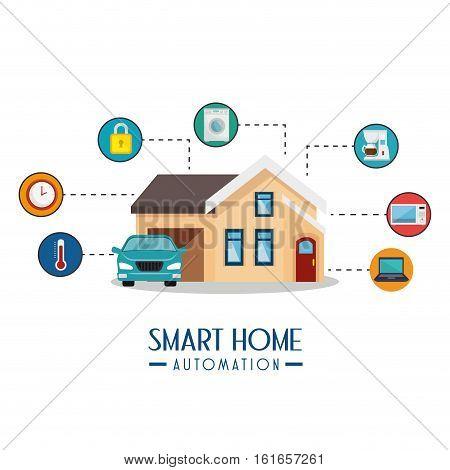 smart home automation tech vector illustration design