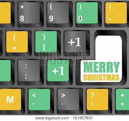 Computer Keyboard with Merry Christmas Key, holiday card