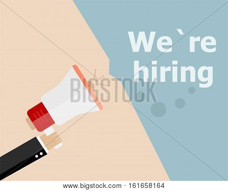 Flat Design Business Concept. We Are Hiring. Digital Marketing Business Man Holding Megaphone For We