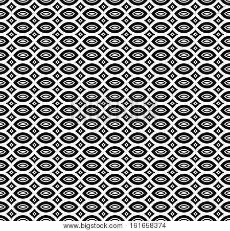 Vector seamless pattern, monochrome geometric texture. Simple black & white linear figures. Ornamental abstract background in oriental style. Repeat mosaic tiles. Design for prints, textile, wrapping, decoration, digital, web