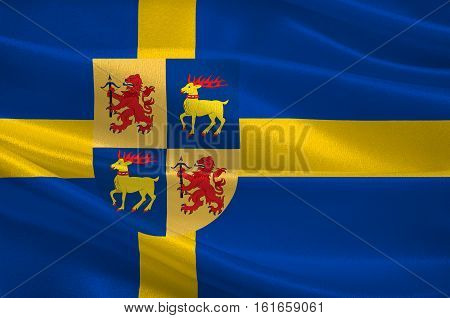 Flag of Kalmar County is a county or län in southern Sweden. 3d illustration