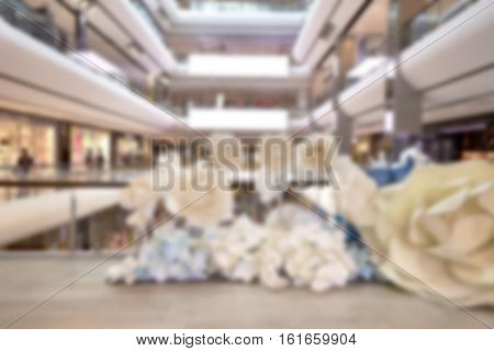 Blurred image of shopping mall and peopleblurred department store ligh