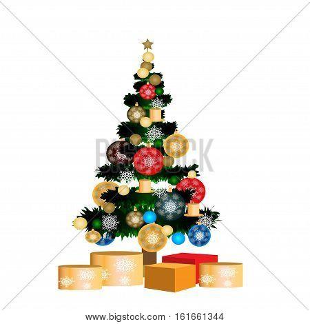 Christmas tree in vector Happy NewYear 2017