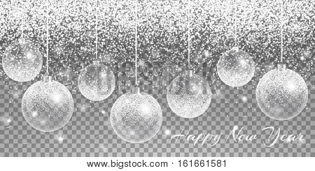 Christmas balls hanging. New year light. Bling background. Sparks vector