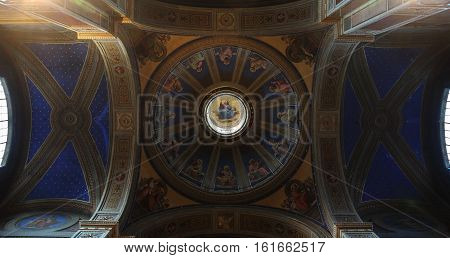 ROME ITALY - DECEMBER 13 2016: ceiling paintings and dome inside the Sant'Agostino in Campo Marzio minor basilica