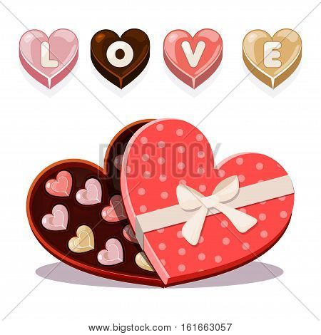 Set chocolates sweets for Valentine s Day. Colored candy in heart-shaped box of chocolates, Valentine s Day icons