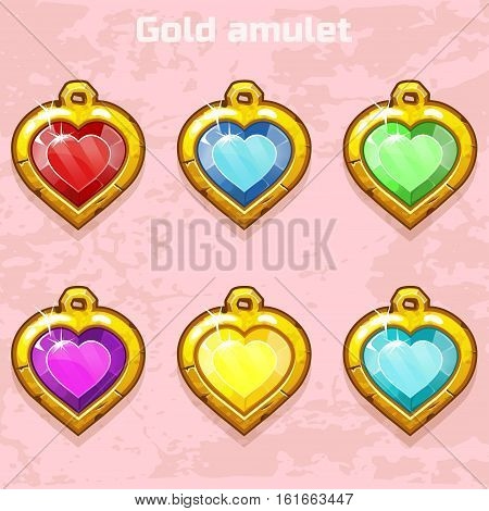 Cartoon golden old amulets hearts with colorful gems in middles, icons for game or web design, game icons, medallion heart shape set on Valentine s Day