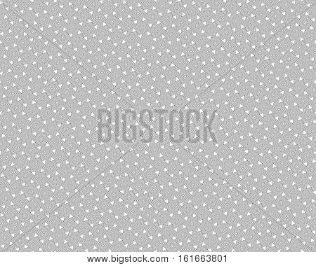 Vector monochrome seamless pattern, rotated polygons, black lines & angled figures on white background. Endless geometric texture for tileable print, decoration, textile, digital, web, creative designs