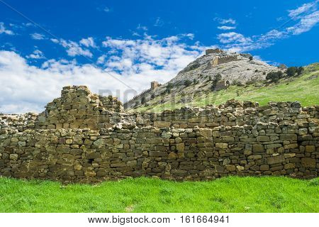 An ancient walls in Genoese fortress in Sudak Crimea Ukraine