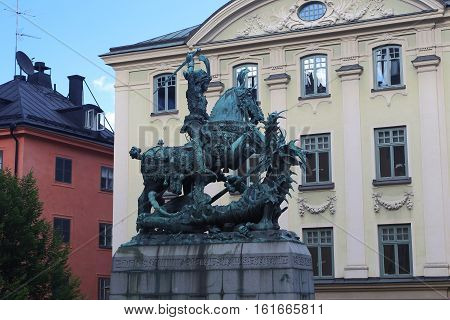 STOCKHOLM, SWEDEN - JUNE 27, 2016: It is a monument of St. George who is the patron saint of Stockholm.