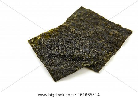 Sheet of dried seaweed crispy seaweed isolated on white background