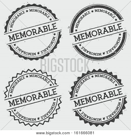 Memorable Insignia Stamp Isolated On White Background. Grunge Round Hipster Seal With Text, Ink Text