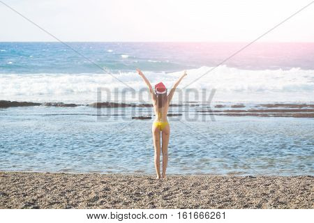 Sexy Santa Woman At Beach