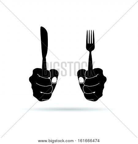 Cutlery In Hand Drawing In Black Illustration On White Background
