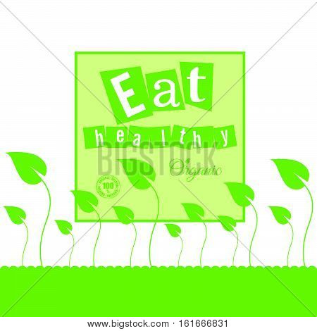 Eat Healthy Organic With Leaves Illustration In Green