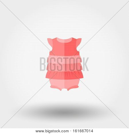 Baby dress jumpsuit. Icon for web and mobile application. Vector illustration on a white background. Flat design style.