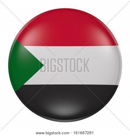 North Sudan Button On White Background