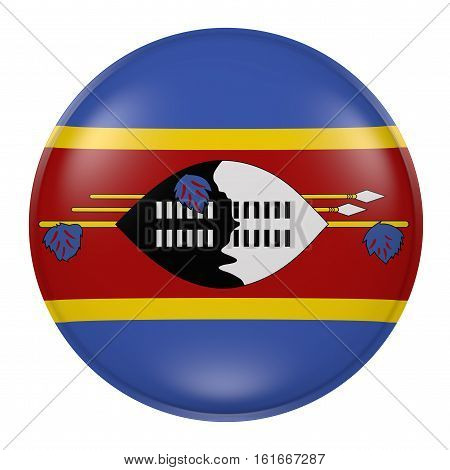Swaziland Button On White Background