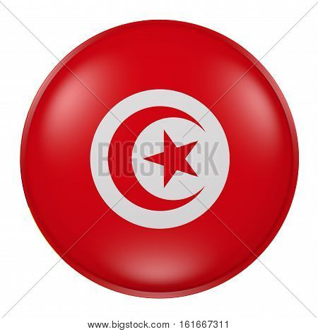 Tunisia Button On White Background