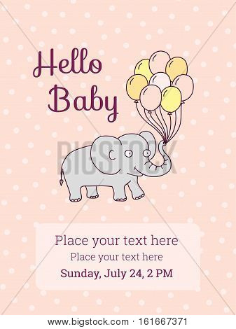 Baby Shower / Birthday party invitation card template. Vector illustration, cartoon elephant with air balloons on pink background. Cute design elements for postcard, invitation, banner, flyer, card
