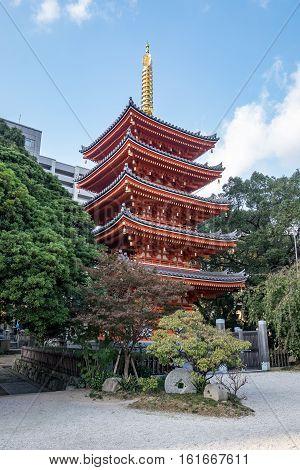 Red Japanese Pagoda found in Fukuoka city, japan