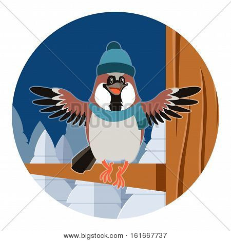 Vector image of the Happy Sparrow with Hat on the Tree flat background