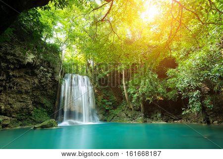 Erawan Waterfall is a beautiful waterfall in spring forest in Kanchanaburi province Thailand.