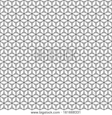 Vector monochrome seamless pattern, repeat geometric ornament, thin lines, angular grid. Black & white simple abstract background, endless texture for prints, decoration, digital, cover, wrapping