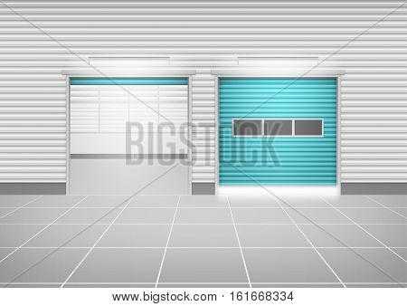 Vector of roller shutter door and tile floor outside factory building for industrial background.