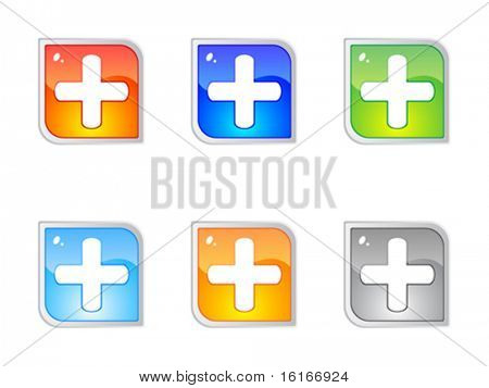 Modern plus buttons editable vector