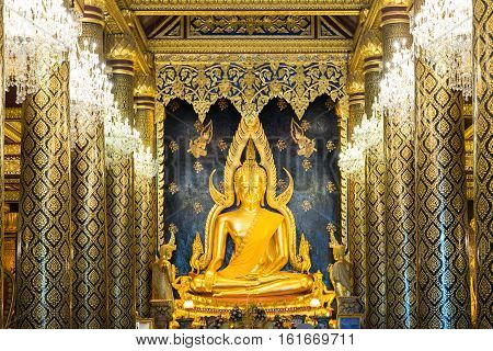 Phra Chinnarat Buddha at Phra Si Rattana Mahathat temple Phitsanulok Province Thailand.
