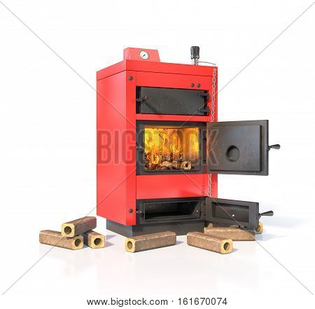 Solid fuel boiler with burning briquettes. Isolated on white background. 3d illustration
