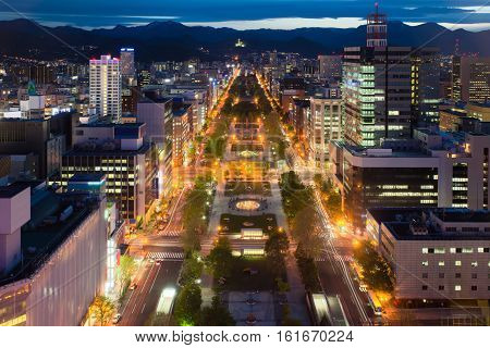 Cityscape of Sapporo at odori Park Hokkaido Japan.Sapporo is the fourth largest city in Japan.