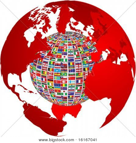 transparency world map with country flags on it