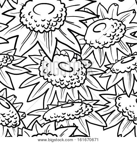 Decorative vector sunflowers seamless pattern. Summer flowers background. Doodle decor style florall wallpaper.