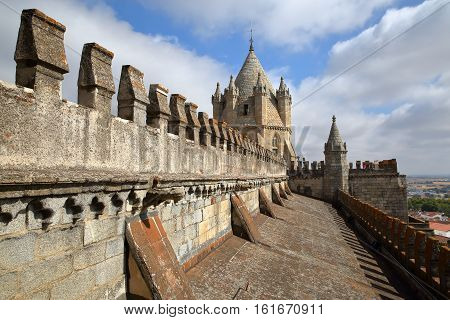 EVORA, PORTUGAL - OCTOBER 9, 2016: The roof of the cathedral (Se) with the Dome